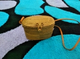 Square Handwoven Rattan Bali Bag with Bow Closure - Natural Ata Reed Bali Bags Crossbody Basket Bag