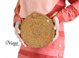 Star Pattern Handwoven Medium Bali Round Rattan Beach Bag with Button Clip