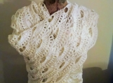 White Shawl, White Large Scarf, white lace shawl, snuggle shawl