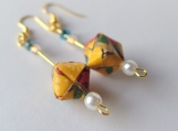 Yellow Brocade Origami Cube Earrings