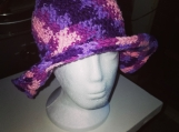 A purple and pink brim hat