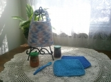 """Baby Blue"" Hand Knit Bib and Washcloth Set"