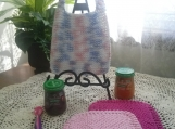 """Baby Pink"" Hand Knit Bib and Washcloth Set"