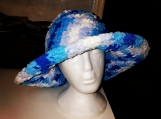 Blue and white large brim hat