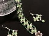 Bracelet and Earrings A98 Green Sunrise