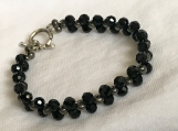 Bracelet and Earrings Set A15 Bright Black