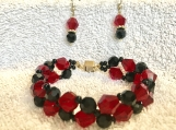 Bracelet and Earrings Set A17 Red and Black