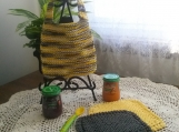 """Bumblebee"" Hand Knit Bib and Washcloth Set"