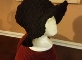 Crochet black brimmed hat