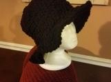 Crochet black brimmed hat