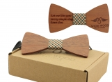 Engraved Adult Size Red Sandalwood Butterfly Bowtie (B0201)