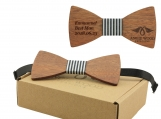 Engraved Adult Size Red Sandalwood Butterfly Bowtie (B0219)