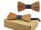 Engraved Adult Size Red Sandalwood Butterfly Bowtie (B0225)