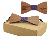 Engraved Adult Size Zebrawood Butterfly Bowtie (B0249)