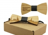 Engraved Adult-Sized Bow Tie - New York Cityscape Design (B0905)