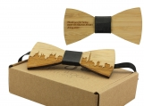 Engraved Adult-Sized Bow Tie with Dubai Cityscape Design (B0909)