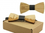 Engraved Adult-Sized Bow Tie with Paris Cityscape Design (B0904)