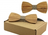 Engraved Adult-Sized Large Round Wooden Bow Tie (B0034)