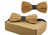 Engraved Adult-Sized Large Round Wooden Bow Tie (B0037)