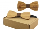 Engraved Adult-Sized Large Round Wooden Bow Tie (B0040)