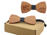 Engraved Adult-Sized Large Round Wooden Bow Tie (B0046)