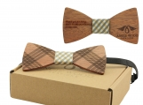 Engraved Adult-Sized Red Sandalwood Bow Tie (B0273)
