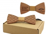 Engraved Adult-Sized Red Sandalwood Bow Tie (B0276)