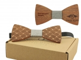 Engraved Adult-Sized Red Sandalwood Bow Tie (B0279)