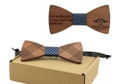Engraved Adult-Sized Red Sandalwood Bow Tie - Blue Woven (B0267)