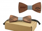 Engraved Adult-Sized Red Sandalwood Bow - Tie Light Blue (B0270)