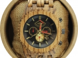 Engraved Automatic Zebrawood Men's Watch with Red Hands (W051)