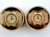 Engraved Bamboo Couple's Watch With Brown Leather Strap