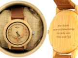 Engraved Bamboo Mens Watch With Laser-cut Antlers (W016)