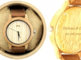 Engraved Bamboo Mens Watch With Leather Strap (W015)