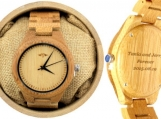 Engraved Bamboo Men's Watch With Laser Engraved Dial (W020)