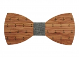 Engraved Bow Tie with Ship Anchor Design and Denim Centre(B0092)