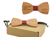Engraved Bow Tie with Ship Anchor Design and Red Cotton (B0089)