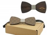 Engraved Dark Sandalwood Bow Tie (B0074)