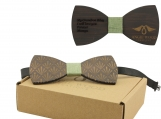 Engraved Dark Sandalwood Bow Tie -Five-Leaf Plant Design (B0071)