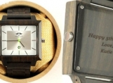 Engraved Dark Sandalwood Mens Square Watch With Silver Dial,Woo