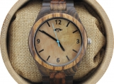 Engraved Dark Sandalwood Men's Watch with Maple Dial (W071)