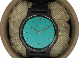 Engraved Dark Sandalwood Men's Watch With Teal Dial (W094)