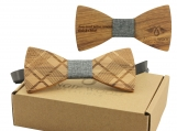 Engraved Diagonal Plaid Bow Tie- Light Grey Denim Centre (B0261)