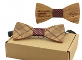Engraved Diagonal Plaid Zebrawood Bow Tie- Red Houndsfoot(B0264)