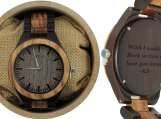 Engraved Ebony and Zebrawood Men's Watch (W036)