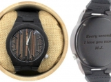 Engraved Ebony Men's Watch with White Hands (W021)