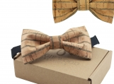 Engraved Large Butterfly Cork Bow Tie  - Dark Cork Lines (B0311)