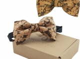 Engraved Large Butterfly Cork Bow Tie  - Marbled Cork2 (B0310)