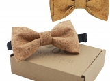 Engraved Large Butterfly Cork Bow Tie - Plain Cork (B0303)