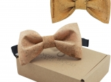 Engraved Large Butterfly Cork Bow Tie - Plain Cork Bands (B0309)